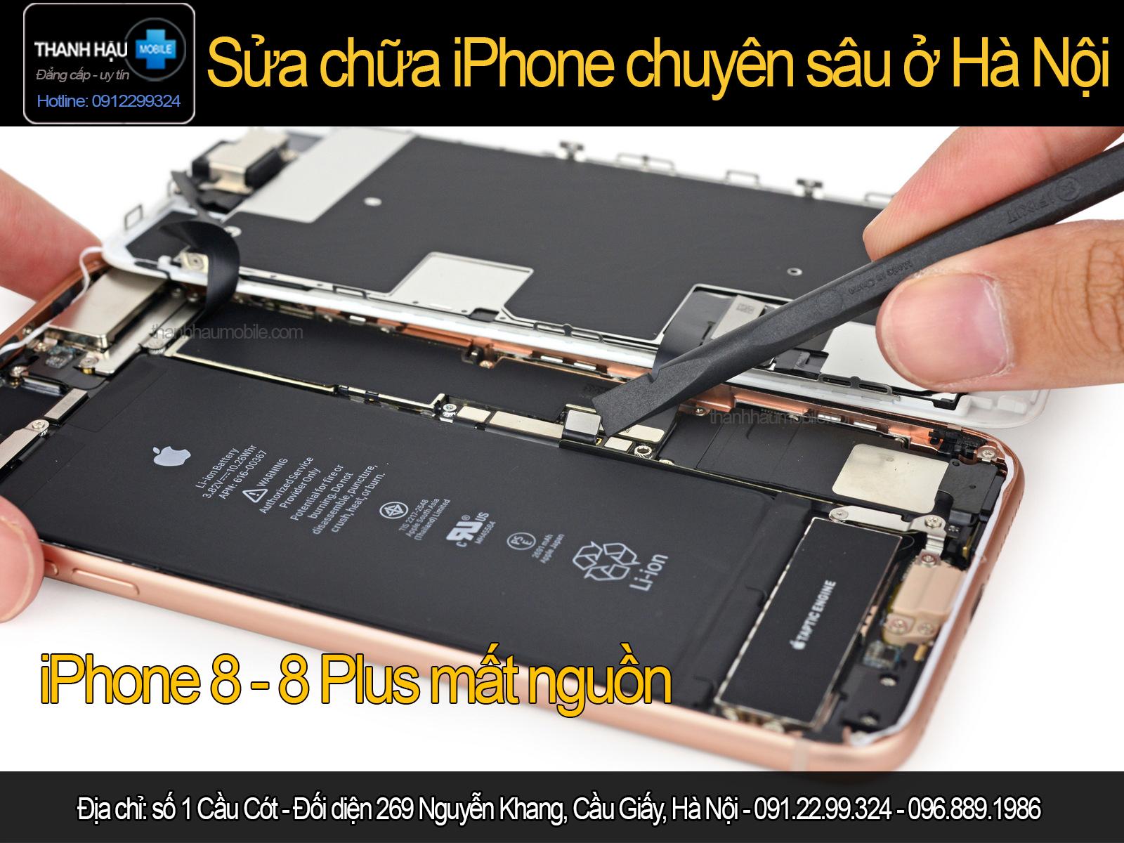 Sửa iphone 8 - 8 plus bật không lên nguồn, treo táo,treo cáp,mất nguồn